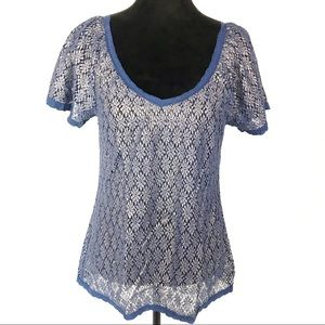 Dylan blue/gold floral brocade short sleeve top